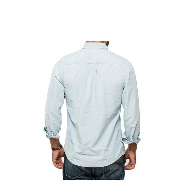Asset Ice Blue Eastern Denim Shirt W Half Open Buttoned Front for Men - L Tajori
