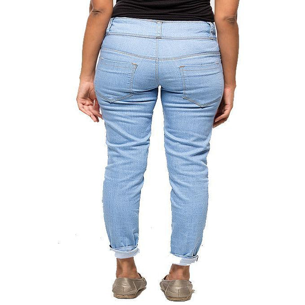 Asset Ice Blue High-Waisted Skinny Jeans W Distressing for Women - 32 Tajori