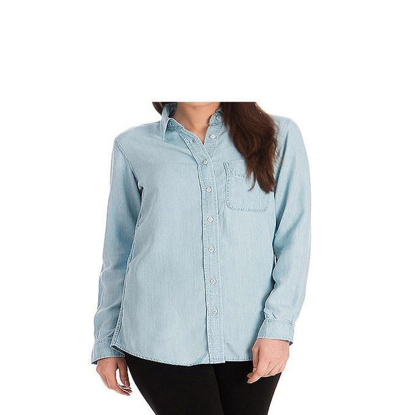 Asset Ice Blue Silky Tencel Denim Button-down Shirt for Women - 10 Tajori