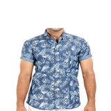 Asset Indigo Palmettes & Leaves Light Denim Shirt with Half Sleeves for Men - S Tajori