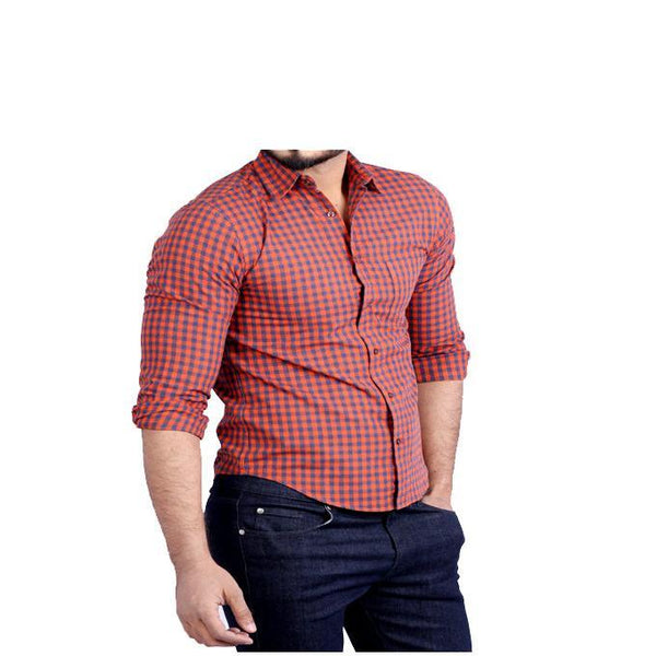 Asset Orange & Blue Checkered Shirt With Grey Buttons for Men - S Tajori