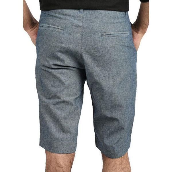 Asset Oxford Denim Grey Shorts with a Fancy Red Trim on Inside Waistband for Men - 32 Tajori