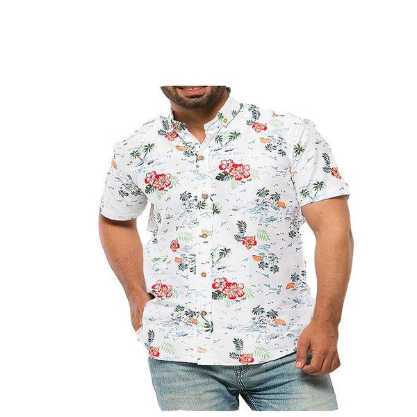 Asset Red Hibiscus Polynesian Printed White Soft Linen Shirt with Half Sleeves for Men - M Tajori
