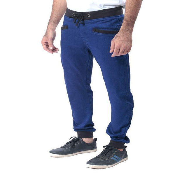Asset Royal Blue Denim Sweatpant W Black Rib & String for Men - 30 Tajori