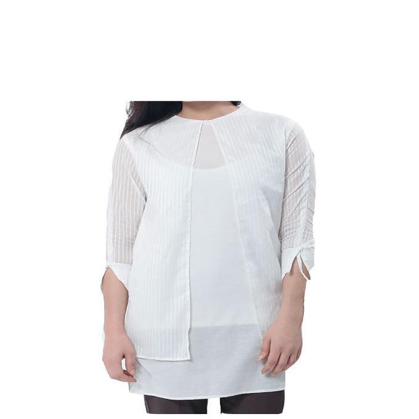 Asset Self Strip White Cotton Shirt W/ Front Open  and Ribbon on Cuffs for Women - 10 Tajori