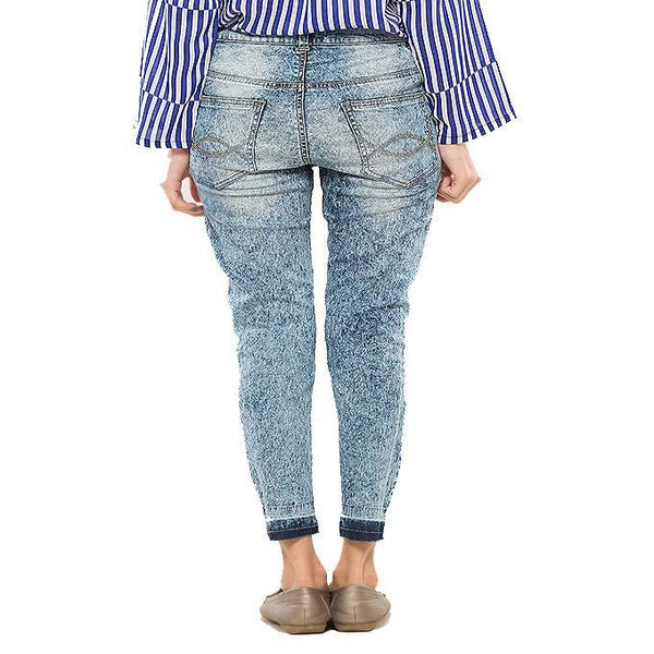 Asset Skinny Stretchable Light Blue Jeans w Distressing & Uneven Hem for Women - 26 Tajori
