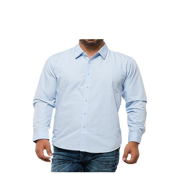 Asset Sky Blue Shirt W Blue & White Checkered Inside Collar and Cuffs for Men - L Tajori