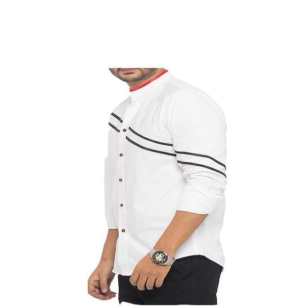 Asset White Oxford Cotton Shirt with Black and Red Contrasts for Men - M Tajori