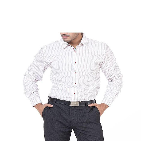 Asset White Striped Shirt with Butterfly Wing Collar & Maroon Buttons for Men - L Tajori