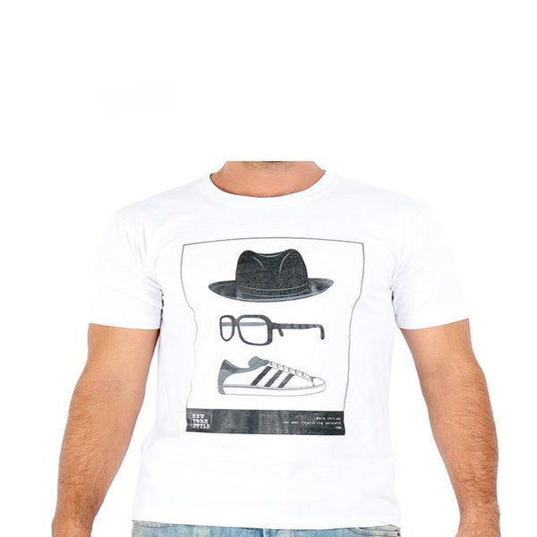 Asset White T-Shirt with Accessories and Shoe Prints for Men - S Tajori