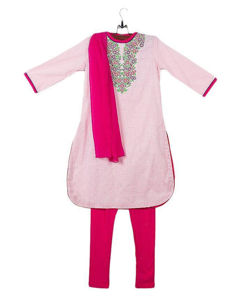 Baby Pink Cotton Suit for Girls - 3 Pcs - GS-210 Tajori