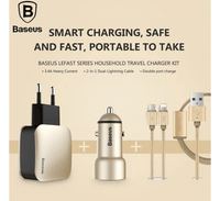 Baseus Universal Lefast Home Series Travel Charger Kit EU Dual USB Adapter + Dual Car Charger + 2 in1 Cable Tajori