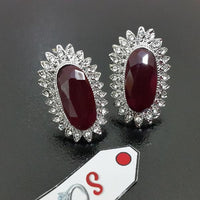 Beautiful Earstuds with Maroon Diamond Cuts and Silver Tone Tajori