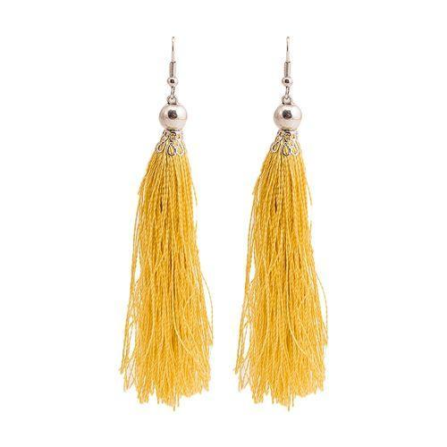 Beige Alloy Tussle Earrings for Women Tajori