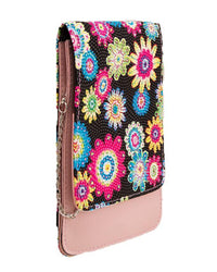 Beige and Pink Elegant Floral Clutch for Women with Long Chain Tajori