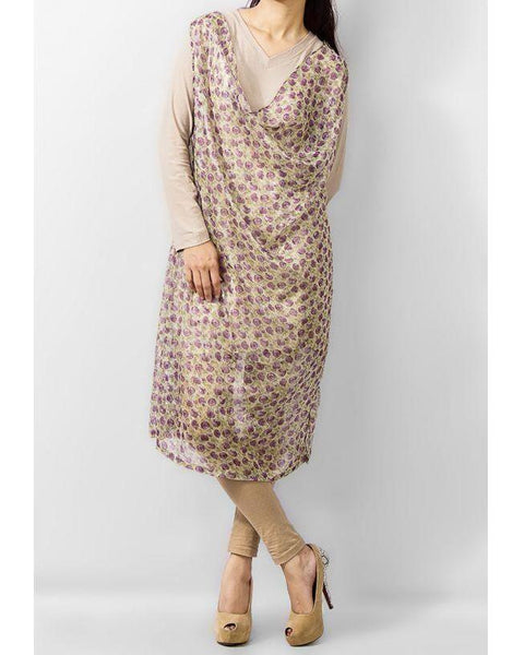Beige Cotton Flower Women Kurta Tajori