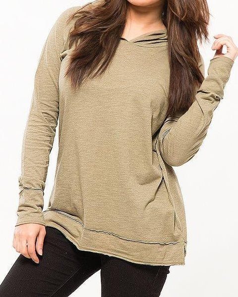 Beige Cotton Hoodie For Women Tajori