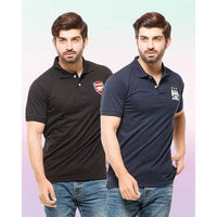 Black And Blue Pc Cotton Pack Of 2 Polo T Shirt With Front Logo Tajori