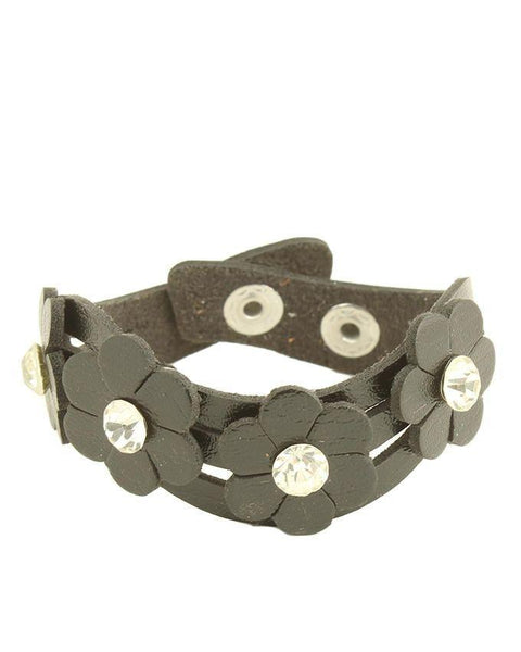 Black Artificial Leather Unisex Bracelet - JP-3209 Tajori