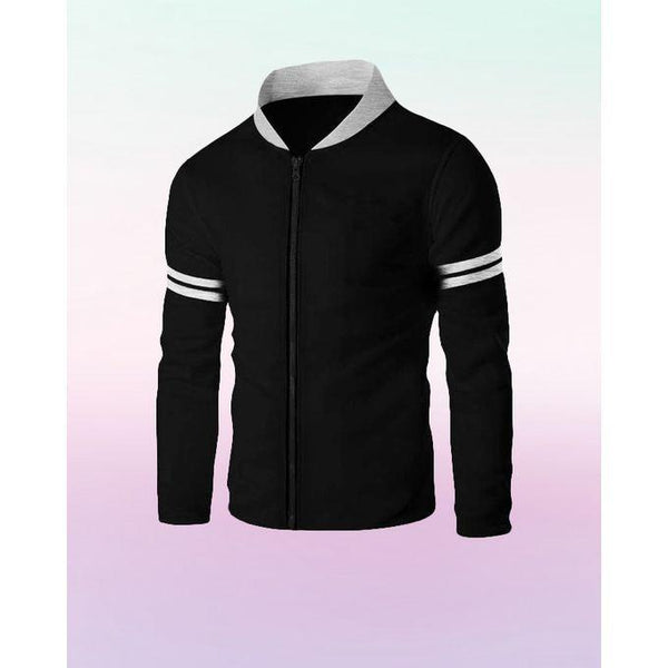 Black Baseball Collar Front Zipper Jacket For Men Tajori
