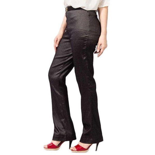 Black Cotton Elegant Style Straight Pant For Women Tajori