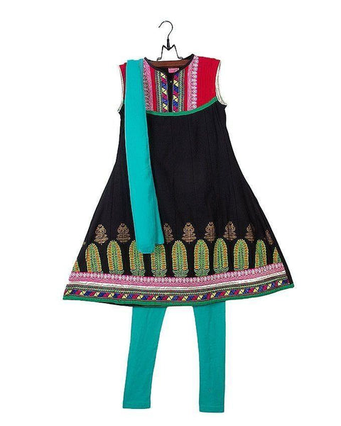 Black Cotton Suit for Girls - 3pcs - AGS-054 Tajori