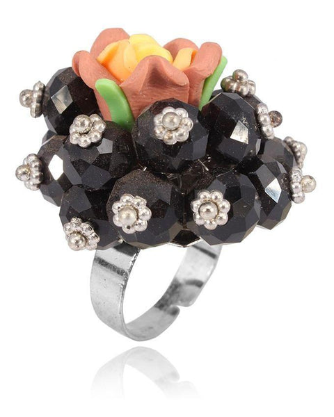 Black & Crystal Ring for Women JP-2600 Tajori