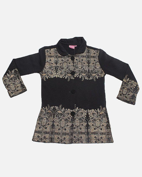 Black Fleece Fabric With Printed Top & Bottom Jacket For Girls Tajori