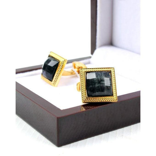 Black & Gold Cufflinks for Men Tajori