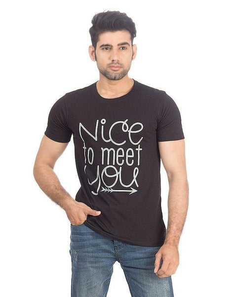 Black Jersey Nice To Meet You Tshirt for Men - 1366 Tajori