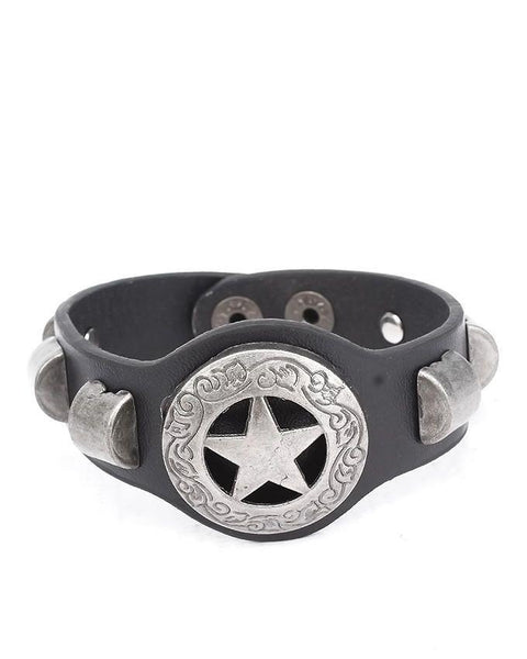 Black Leather Stylish Bracelet JP-1472 Tajori