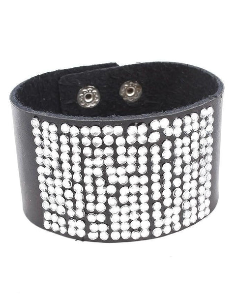 Black Leather Stylish Bracelet JP-1505 Tajori