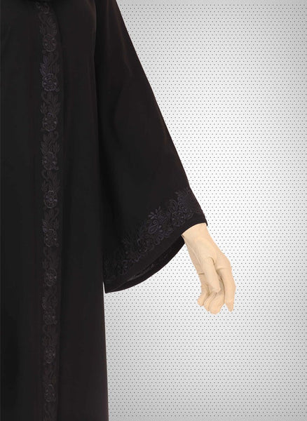 Black Machine Embroidery Work Stylish Abaya 0121-K-762 Tajori