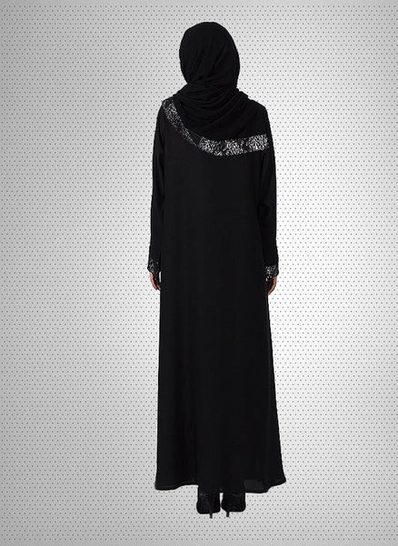 Black Nida Designered Abaya with Patch Work 0121-R-779 Tajori