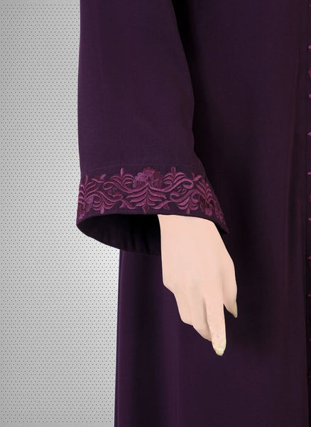 Black Sequence Machine Embroidery Abaya 0121-K-770 Tajori