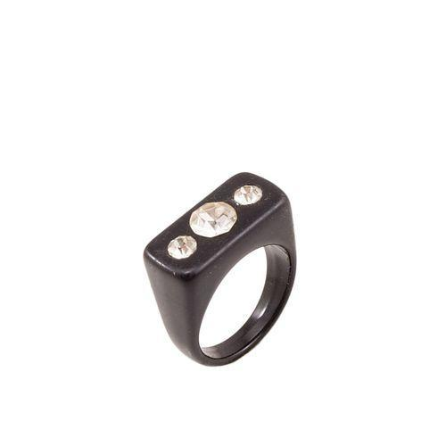 Black Shiny Top Ring for Women Tajori