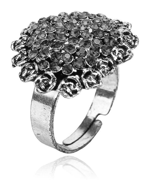 Black & Silver Alloy Ring for Women - JP-497 Tajori
