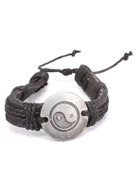 Black Stylish Leather Bracelet Tajori