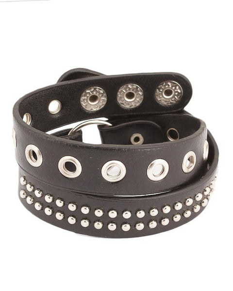 Black Unisex Artificial Leather Bracelet - JP-3182 Tajori