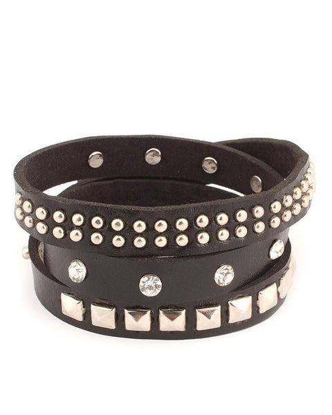 Black Unisex Artificial Leather Bracelet - JP-3258 Tajori