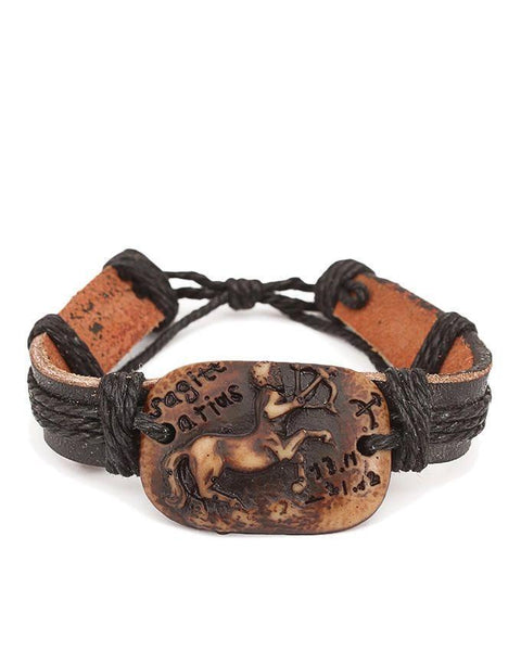 Black Unisex Leather & Camel Bone Star Sign Bracelet - JP-3226 Tajori