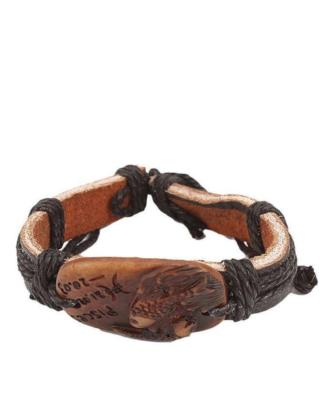 Black Unisex Leather & Camel Bone Star Sign Bracelet - JP-3237 Tajori