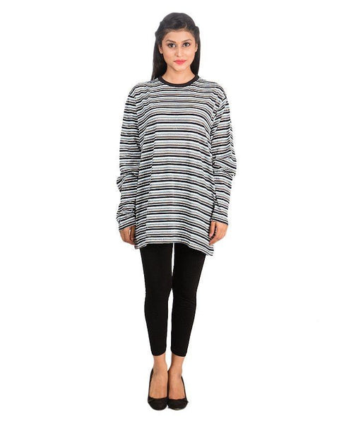 Black & White Yarn Dyed Stripe T-Shirt For Women Tajori