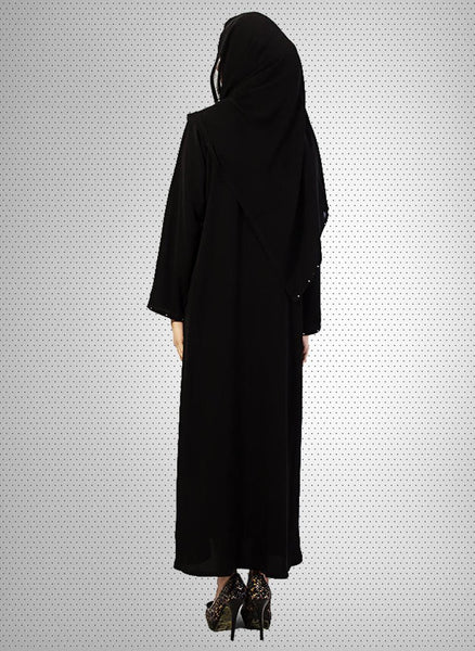 Blakish Stone Worked Front Open Stylish Abaya 0121-PC-Mot111 Tajori
