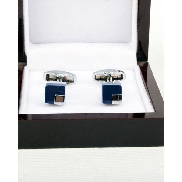 Blue Square Shape Cufflinks for Men Tajori