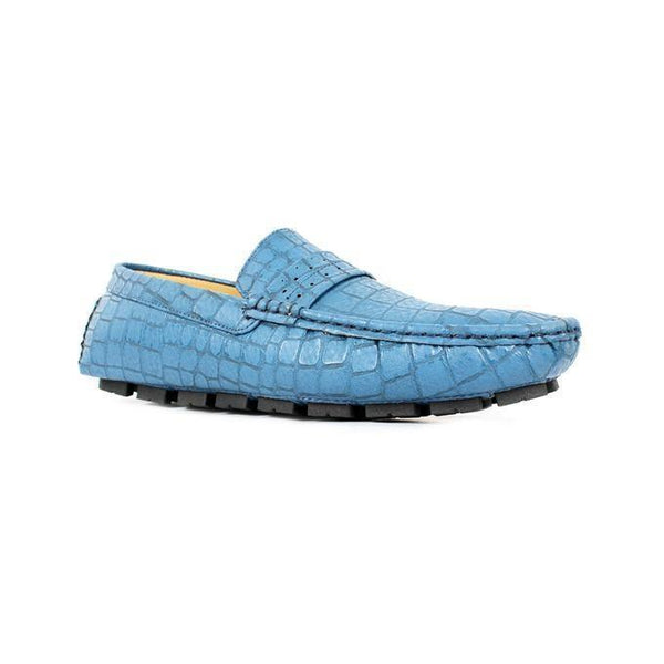 Blue Synthetic Leather Loafers For Men Tajori