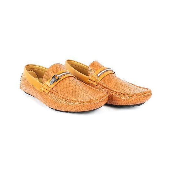Brown Faux Leather Loafers For Men Tajori
