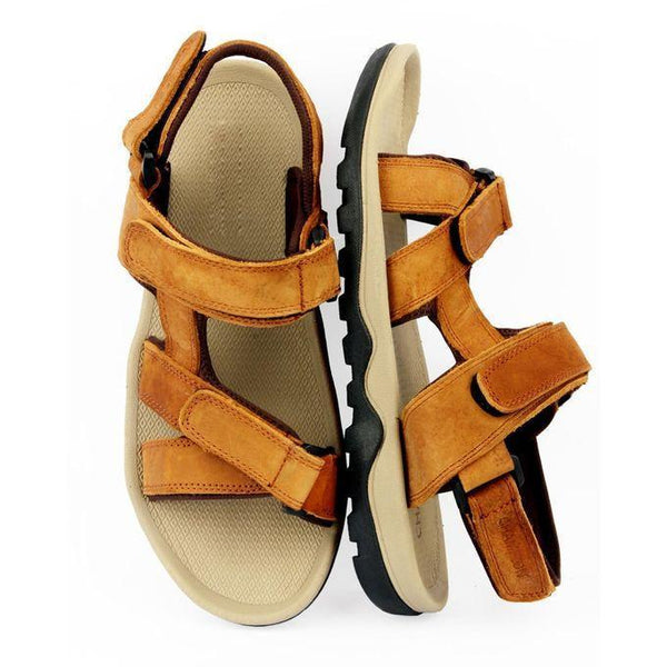 Brown Leather Sandals For Men Tajori