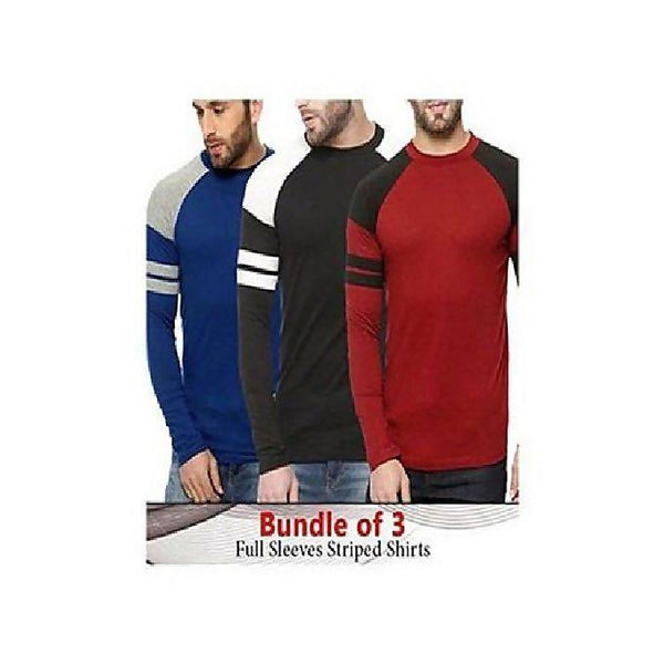 Bundle of 3 full sleeves strips shirts for Men Tajori