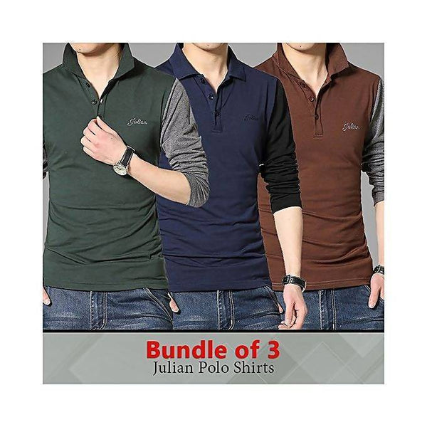 Bundle of 3 Julian polo full sleeves t-shirts for men Tajori